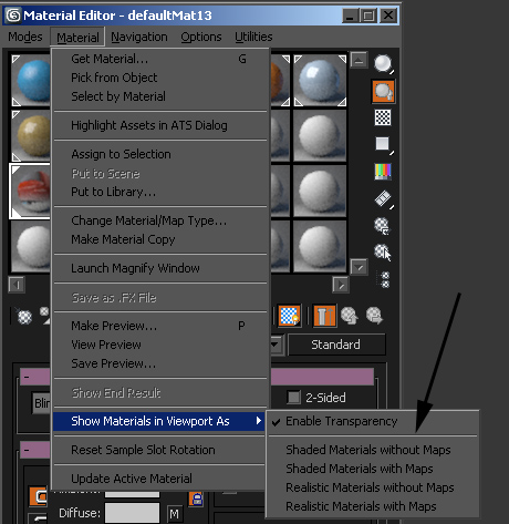 Show shaded material in viewport